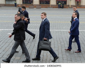 MOSCOW, RUSSIA - MAY 9, 2019: Dmitry Medvedev, Prime Minister of the Russian Federation, on Red Square during the celebration of the 74th anniversary of the Victory