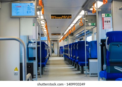 Moscow, Russia - May, 9, 2019: interior of a carrige of subway train in Moscow