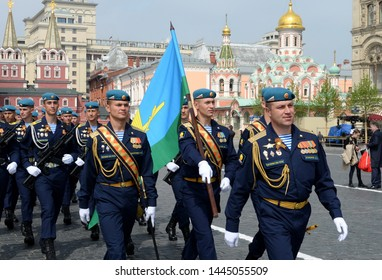 MOSCOW, RUSSIA - MAY 9, 2019: Soldiers Ryazan airborne command school. V. Margelova during the parade on red square in honor of Victory Day