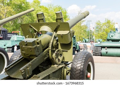 Moscow, Russia - May 9, 2019 - 152 mm howitzer gun ML-20 (52-G-544A) in Victory Park on Poklonnaya Hill in Moscow
