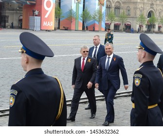 MOSCOW, RUSSIA - MAY 9, 2019:Chairman of the State Duma of the Federal Assembly of the Russian Federation Vyacheslav Volodin and Prosecutor General of the Russian Federation Yuri Chaika on red square