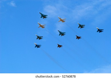 MOSCOW, RUSSIA - MAY 9: Group of planes flies against the blue sky on May 9, 2010 in Moscow, Russia