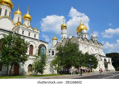 Moscow, Russia, May,24,2014, Russian scene: People walking near Arhangelsky and Blagoveschensky cathedrals in Moscow kremlin
