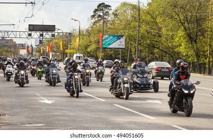 Moscow, Russia - may3, 2016 : Column of bikers rides on Moscow street.
