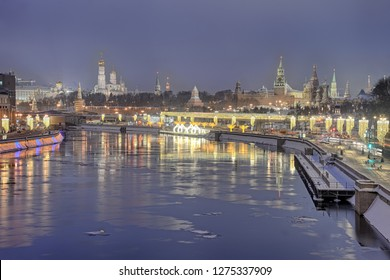 MOSCOW, RUSSIA - Morning Twilight Over the Festive Moscow in Winter Holidays. View from Bolshoi Ustinsky Bridge