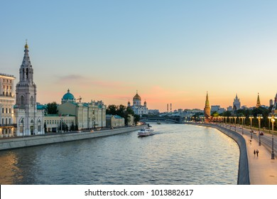 Moscow, Russia - The Moskva River /  Moscow River in evening time