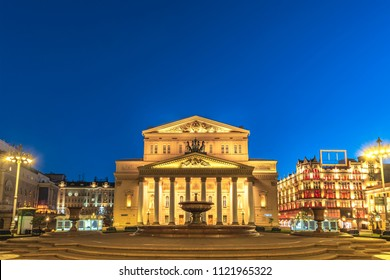 Moscow Russia, night city skyline at The Bolshoi Theatre