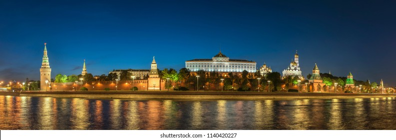 Moscow Russia, night panorama city skyline at Kremlin Palace Red Square and Moscow River