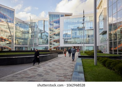 MOSCOW, RUSSIA - NOV 09, 2017: People in courtyard of Moscow Yandex office. Yandex is  Russian transnational company owning search system and different services in several countries.