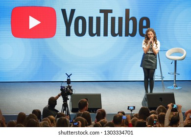 MOSCOW, RUSSIA - NOV 18, 2017: Natalia Berseneva (Bersik) is a popular Russian video blogger and vlogger to meet with fans
