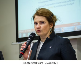 MOSCOW, RUSSIA - NOV 22, 2017: Co-founder of Kaspersky Lab and InfoWatch CEO Natalya Kaspersky makes speech at forum on investment potential of Russian IT market in Moscow, Russia on Nov 22, 2017.