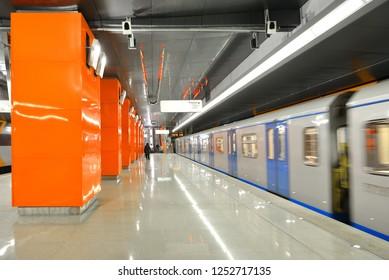 MOSCOW, RUSSIA - NOV 29, 2018: Borovskoye Shosse, station on Kalininsko-Solntsevskaya line of Moscow Metro, it opened on 30 August 2018. Train movement