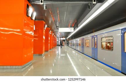 MOSCOW, RUSSIA - NOV 29, 2018: Borovskoye Shosse, station on Kalininsko-Solntsevskaya line of Moscow Metro, it opened on 30 August 2018. Train is arriving
