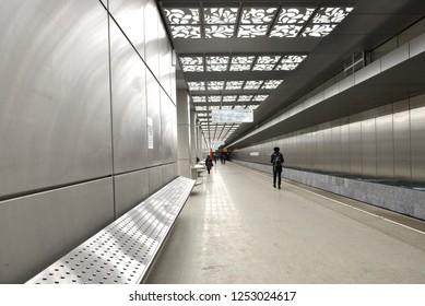 MOSCOW, RUSSIA - NOV 29, 2018: Novoperedelkino, station on Kalininsko-Solntsevskaya line of Moscow Metro, it opened on 30 August 2018. Passengers