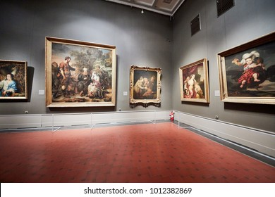 MOSCOW, RUSSIA - NOV 3, 2017: Room of Rembrandt and his School in the Museum of Fine Arts named by A.S.Pushkin. Rembrandt was the greatest figure in European art of the 17th century.