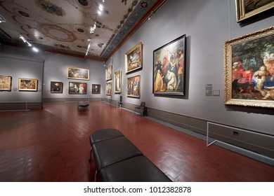 MOSCOW, RUSSIA - NOV 3, 2017: Room of the Art of Flanders 17th century in the Museum of Fine Arts named by A.S.Pushkin. The hall presents examples of Flemish paintings.