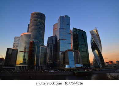 Moscow, Russia - november 02. 2017. Towers of international business center of Moscow City at sunset