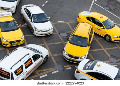 Moscow, Russia - November 02, 2018: Massive Traffic Offense Or Traffic Rules On Vehicles Like Taxi And Other Road Users. Non-observance Of Road Markings And Traffic Rules, Road Accident.