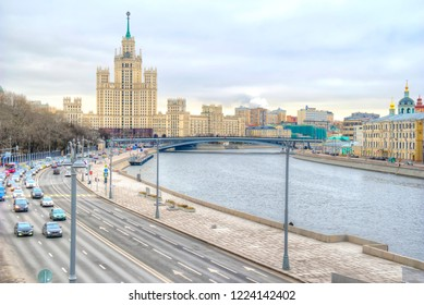 MOSCOW, RUSSIA - November 04.2017: Moscow River, Moskvoretskaya embankment and the famous Stalin's high-rises on Kotelnicheskaya Embankment, one of the Seven Sisters