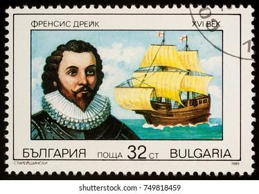 """Moscow, Russia - November 07, 2017: A stamp printed in Bulgaria shows Sir Francis Drake - English navigator, series """"Great Navigators"""", circa 1989"""