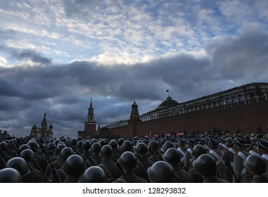 MOSCOW, RUSSIA - NOVEMBER 07:  Russian soldiers prepare to parade in Red Square,  on November 07, 2012 in Moscow.