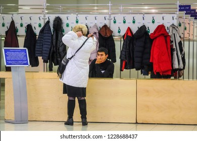 "Moscow, Russia - November 10, 2018: image of a dressing room at the Moscow Exhibition Center  ""Expocentre"""