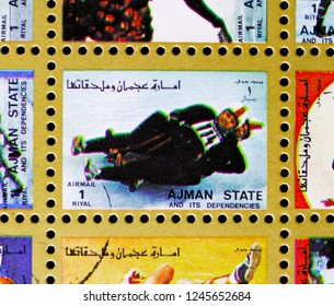 MOSCOW, RUSSIA - NOVEMBER 10, 2018: A stamp printed in Ajman shows Luge, Winter Olympics serie, circa 1973