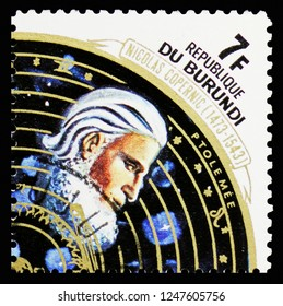 MOSCOW, RUSSIA - NOVEMBER 10, 2018: A stamp printed in Burundi shows Astronomy, Ptolemy I Soter, The 500th Anniversary of the Birth of Copernicus serie, circa 1973