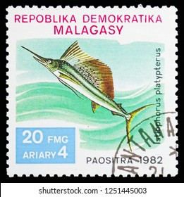 MOSCOW, RUSSIA - NOVEMBER 10, 2018: A stamp printed in Madagascar shows Indo-Pacific Sailfish (Istiophorus platypterus), Fish serie, circa 1982