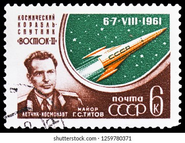 "MOSCOW, RUSSIA - NOVEMBER 10, 2018: A stamp printed in USSR (Russia) shows Gherman Titov, Launch of the Manned Soviet Space Ship ""Vostok II"" serie, circa 1961"