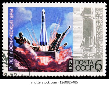"MOSCOW, RUSSIA - NOVEMBER 10, 2018: A stamp printed in USSR (Russia) shows Launch of ""Vostok I"", 15th Anniv of ""Cosmic Era"" serie, circa 1972"