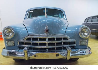Moscow, Russia - November 10, 2018: GAZ-12 ZiM car  (manufactured from 1949 to 1959) at the exhibition of old and rare cars.