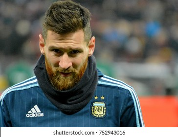Moscow, Russia - November 11, 2017. Argentina national football team captain Lionel Messi before test match against Russia in Moscow.