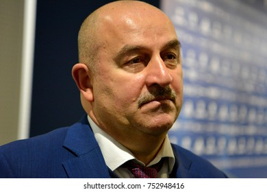 Moscow, Russia - November 11, 2017. Russian national football team coach Stanislav Cherchesov after international test match against Argentina at Luzhniki stadium in Moscow.