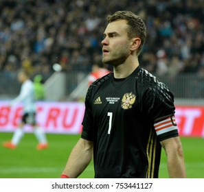 Moscow, Russia - November 11, 2017. Goalkeeper Igor Akinfeev during international friendly match Russia vs Argentina at Luzhniki stadium in Moscow.