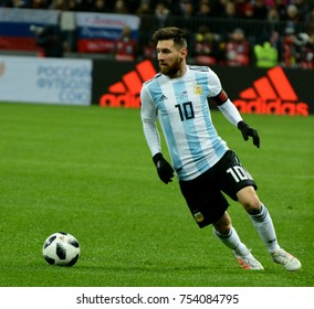 Moscow, Russia - November 11, 2017. Argentina national football team captain Lionel Messi during international test match against Russia in Moscow.