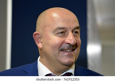 Moscow, Russia - November 11, 2017. Russian national football team coach Stanislav Cherchesov at a press conference after international test match against Argentina at Luzhniki stadium in Moscow.