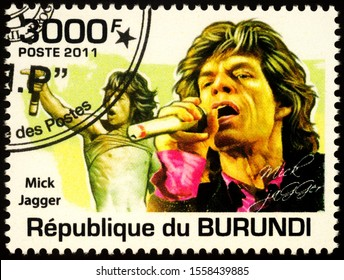 Moscow, Russia - November 12, 2019: stamp printed in Burundi shows portrait of Mick Jagger - English singer, songwriter, actor, and film producer, circa 2011
