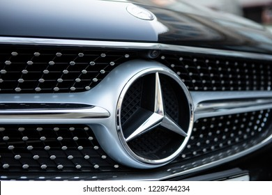 Moscow, Russia - November 13, 2018: Mercedes Benz Logo Close-up On Car Bumper Or Grill. Luxury Automobile Manufacturer, Multinational Division Of German Manufacturer Daimler.