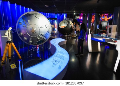 MOSCOW, RUSSIA November 16, 2019 : The Exhibition show the design of Soviet Spacecraft in The Memorial Museum of Cosmonautics or Space Museum in the Moscow city in Russia.