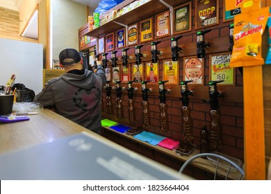 MOSCOW, RUSSIA November 16, 2019 : Local Beer Taps department in Supermarket in the Moscow city in Russia.