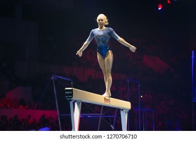 "MOSCOW, RUSSIA - NOVEMBER 16-17, 2018: Daria Spiridonova, multiple gymnastics champion at the ""Legends of Sport"" show by Alexey Nemov - 2018 at the Moscow Sports Palace in Luzhniki, Russia"