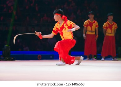 """MOSCOW, RUSSIA - NOVEMBER 16-17, 2018: Chinese Wushu gymnasts at the """"Legends of Sport"""" show by Alexey Nemov - 2018 at the Moscow Sports Palace in Luzhniki, Russia"""