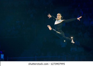 """MOSCOW, RUSSIA - NOVEMBER 16-17, 2018: Olympic champion Catalina Ponor at the Alexey Nemov's show """"Legends of Sport""""  - 2018 in Moscow's Luzhniki Sports Palace, Russia"""