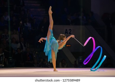 """MOSCOW, RUSSIA - NOVEMBER 16-17, 2018: Alexandra Soldatova, multiple rhythmic gymnastics champion at the """"Legends of Sport"""" show by Alexey Nemov - 2018 at the Moscow Sports Palace in Luzhniki, Russia"""