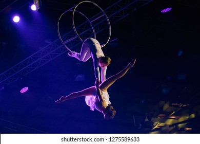 """MOSCOW, RUSSIA - NOVEMBER 16-17, 2018: Performance of a dance group and aerial gymnasts  at the """"Legends of Sport"""" show by Alexey Nemov - 2018 at the Moscow Sports Palace in Luzhniki, Russia"""