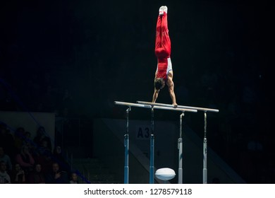 """MOSCOW, RUSSIA - NOVEMBER 16-17, 2018: Gymnasts performance at the """"Legends of Sport"""" show by Alexey Nemov - 2018 at the Moscow Sports Palace in Luzhniki, Russia"""