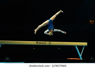 """MOSCOW, RUSSIA - NOVEMBER 16-17, 2018: Maria Kharenkova, multiple gymnastics champion at the """"Legends of Sport"""" show by Alexey Nemov - 2018 at the Moscow Sports Palace in Luzhniki, Russia"""