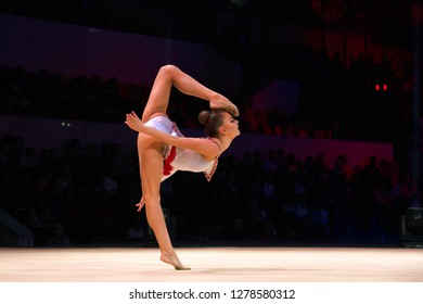 """MOSCOW, RUSSIA - NOVEMBER 16-17, 2018: Dina Averina, multiple rhythmic gymnastics champion at the """"Legends of Sport"""" show by Alexey Nemov - 2018 at the Moscow Sports Palace in Luzhniki, Russia"""