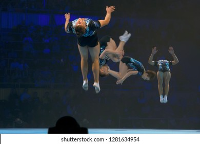 """MOSCOW, RUSSIA - NOVEMBER 16-17, 2018: Gymnasts Pavelko, Ivanov, Stepanov, Salimdzhanov at the """"Legends of Sport"""" show by Alexey Nemov - 2018 at the Moscow Sports Palace in Luzhniki, Russia"""